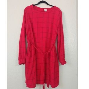 Dresses & Skirts - Red Plaid Long Sleeve Dress.